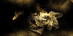 黑金大气金花背景图片