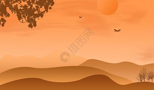 黄昏沙漠插画图片