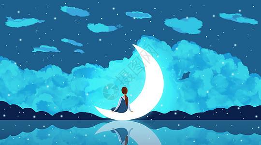 月亮上女孩的背影图片