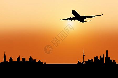 飞机起飞剪影图片