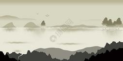 渐变山水风景插画图片