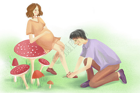 系鞋带亲情插画图片