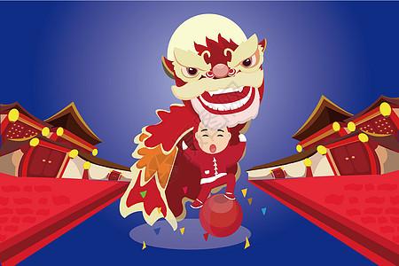 新年舞狮插画图片