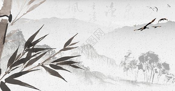 中国风水墨墨竹背景图片