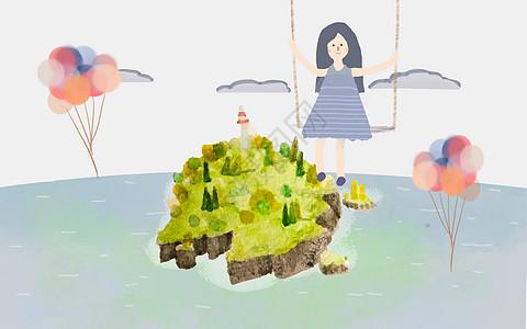 海岛上空的女孩图片