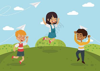 儿童欢呼跳跃矢量插画图片