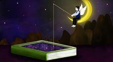 天使坐在月亮上垂钓书中的星星图片