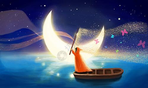月光下划船玩耍的女孩图片
