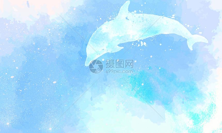 唯美图片 背景素材 水彩海豚清新背景psd  分享: qq好友 微信朋友圈