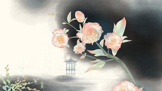 古风水墨染茶花背景图片