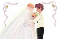 结婚婚礼插画图片