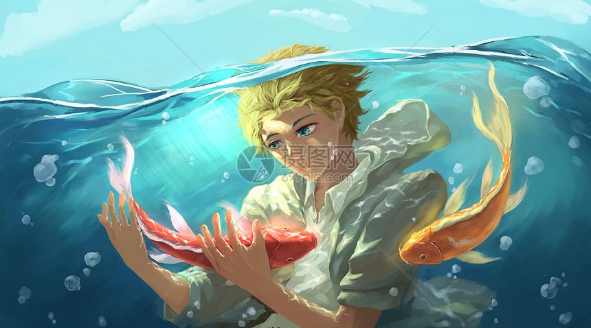 水中的少年图片