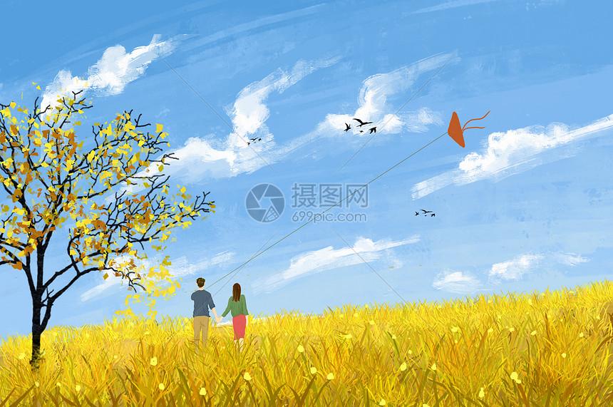 唯美图片 自然风景 深秋情侣田野散步psd  分享: qq好友 微信朋友圈