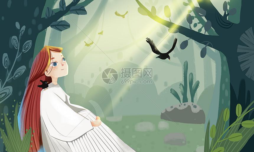 治愈系森林唯美少女插画图片