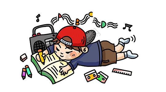 读书的男孩教育插画图片