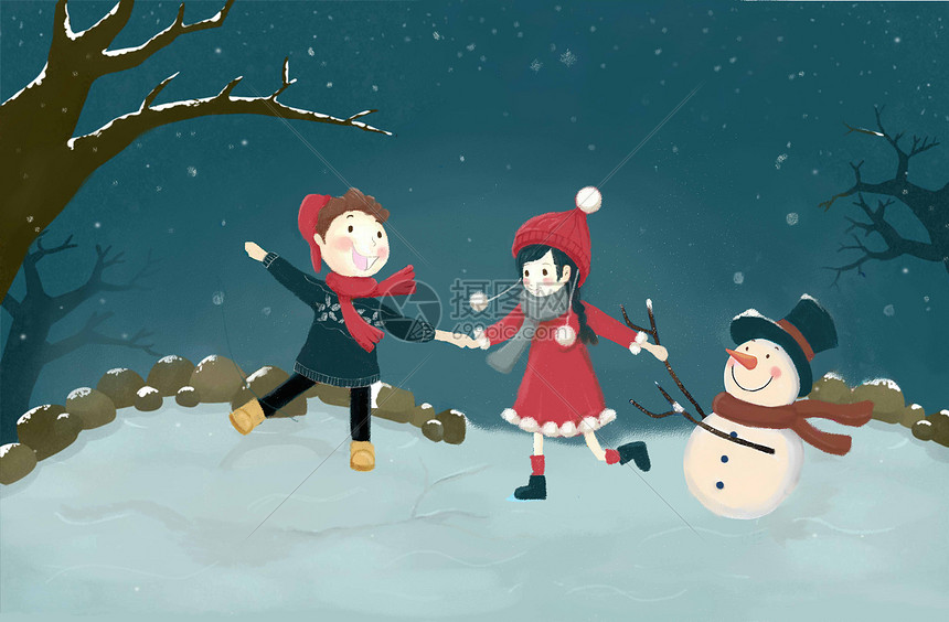 小雪节气儿童雪人插画图片