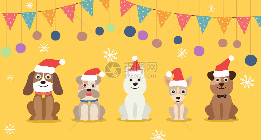 圣诞狗狗卡通形象图片