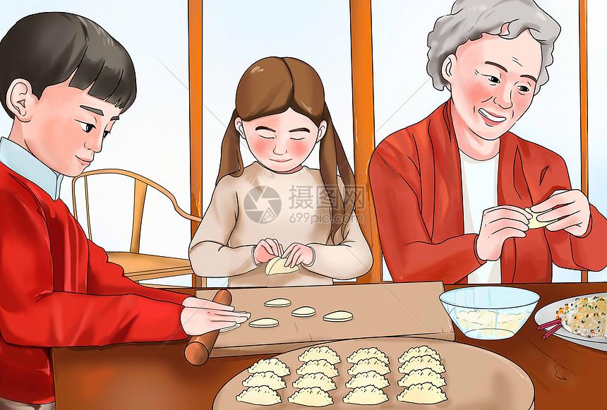 全家包饺子图片