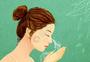 美女洗脸美容插画图片