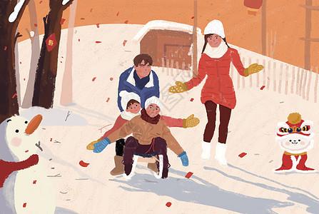 春节场景插画图片