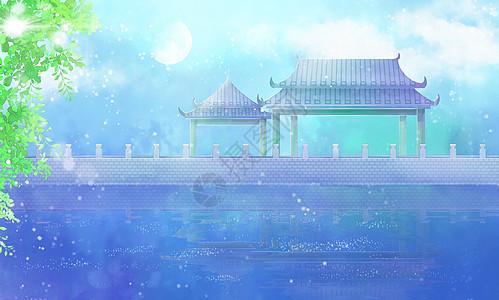 古风湖水亭插画背景图片