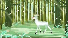 梦幻森林插画图片