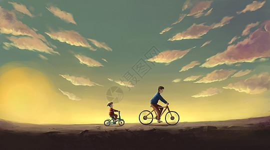 黄昏下骑自行车图片