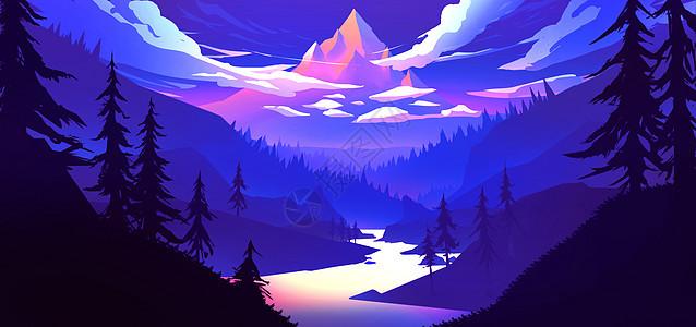 千山万水唯美风景插画图片