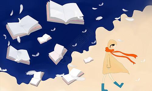 原创女孩与书 治愈系插画图片