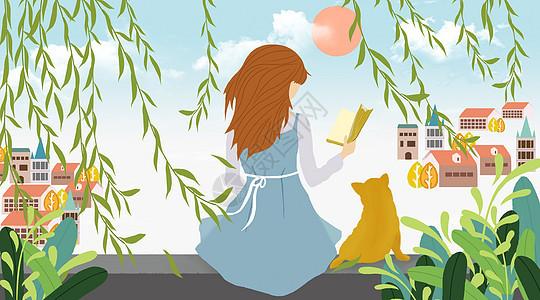 小镇里坐在柳树下看书的姑娘图片