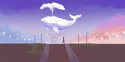 唯美鲸鱼云朵场景插画图片