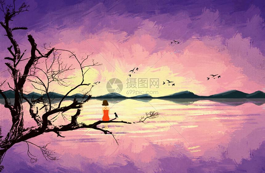 小女孩看夕阳