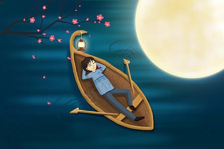 月下划船插画图片
