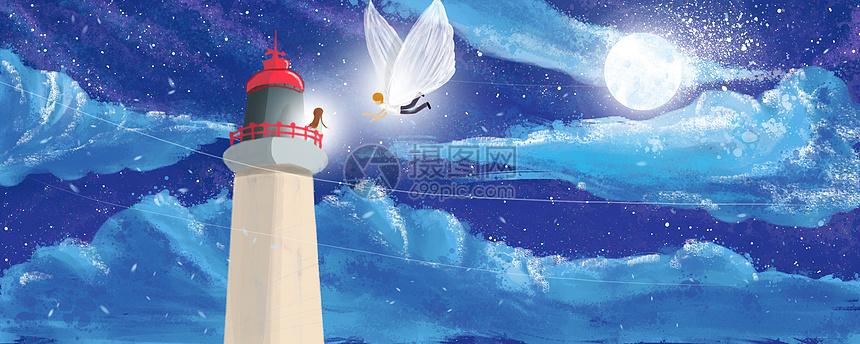 灯塔上的守候插画图片