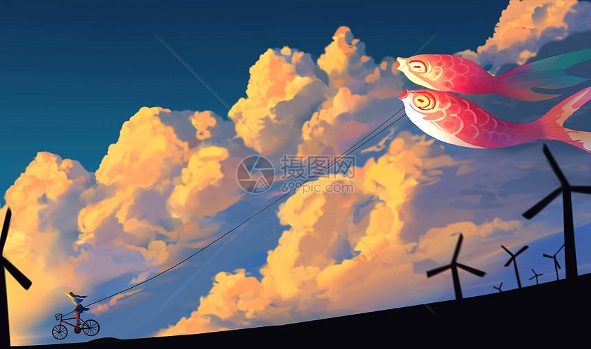 唯美天空手绘插画图片