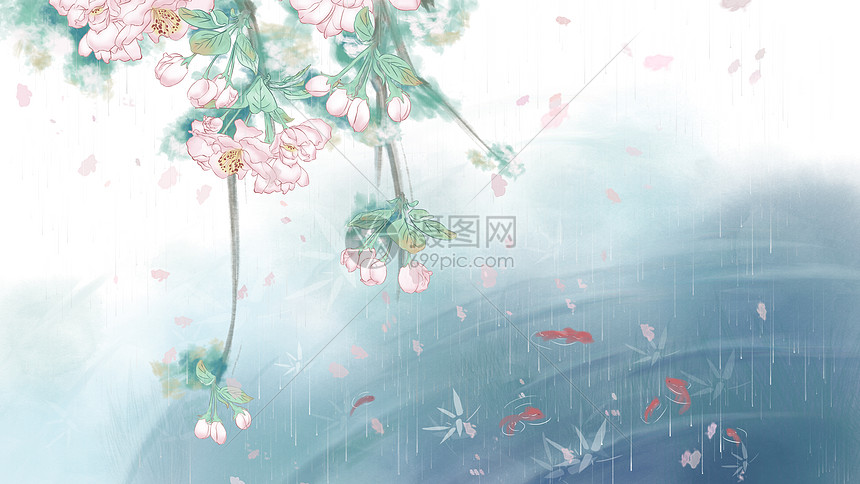 古风雨湿苹果花背景图片