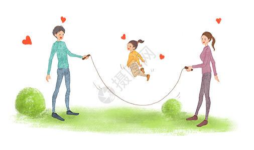 温馨亲子跳绳图片
