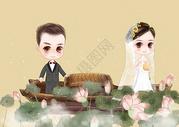 卡通男女婚纱照图片