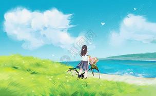 治愈草地风景插画图片