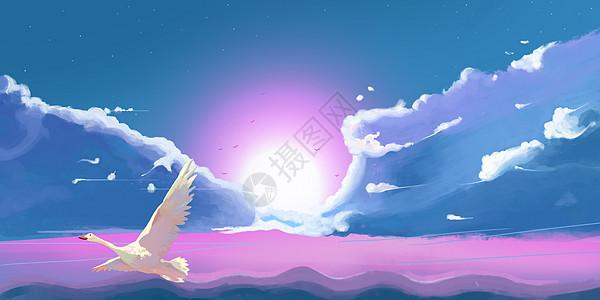 日系云海场景插画图片