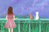 星空下的少女和猫图片