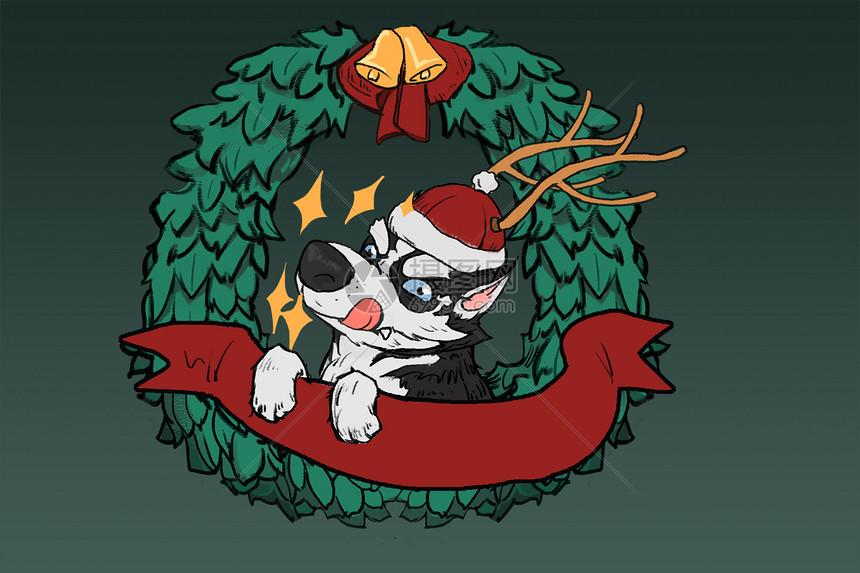 手绘插画二哈狗年圣诞节手绘插画图片狗年圣诞节手绘插画图片免费下载