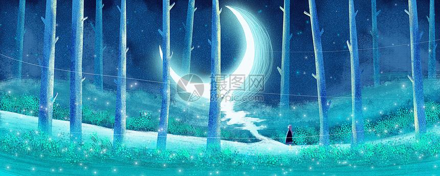月光下的守望插画图片