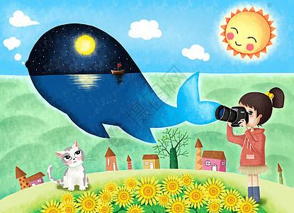 鲸鱼和拍照的女孩治愈系插画图片