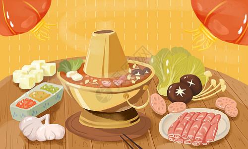 美味火锅插画图片