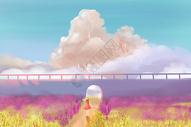 云端的树创意插画图片
