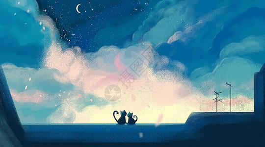 猫和月亮梦幻插画图片