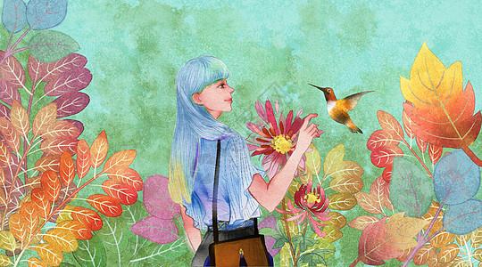 花中少女与蜂鸟图片