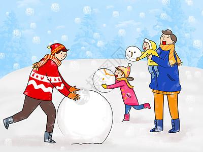 亲子堆雪人图片