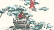 节气插画冬季偷酒喝的松鼠图片